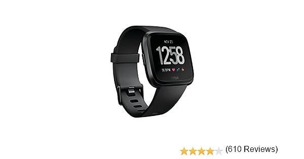 Fitbit Versa - Reloj Deportivo Smartwatch Deportivo, Unisex Adulto, Negro/Gris, Talla Única