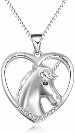 354e10747 YFN Sterling Silver Unicorn Pendant Necklace Jewelry Unicorn Gift for Women  Girls Daughter