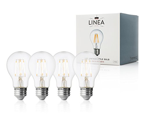 Led Linea (40 Watt Equivalent Clear Dimmable LED Bulbs - 4 pack – A19 Edison 4W, LL-BA19-4W-CLR-4)