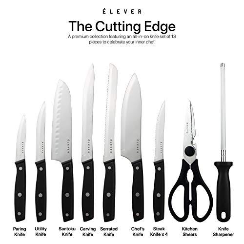 Elever Knife Set - Kitchen Knife Set with Block, 13 Kitchen Knives with Knife Sharpener, Chef Knife, Kitchen Scissors, Steak Knives. Modern Knives Kitchen Set, House Kitchen Decor, Cutlery Set Gift by Elever (Image #2)
