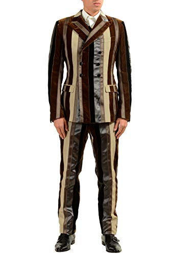 Dolce & Gabbana Men's Silk Striped Velour Three Piece Suit US 38 IT 48 ()