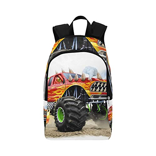 Cartoon Monster Truck Casual Daypack Travel Bag College School Backpack for Mens and Women Competition Monster Truck Engine