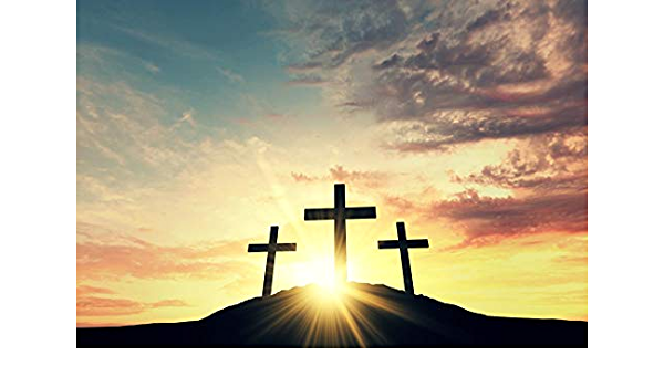 Vinyl 9x6ft Backdrop Crucifixion of Jesus Christ Photography Background Crown Thorns White Lily Flower Lord Pray Religious Belief Children Kids Adult Portrait Photo Studio