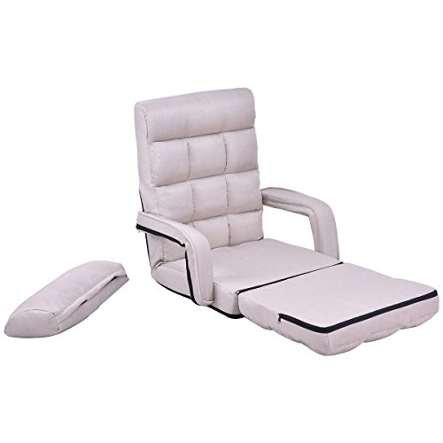 Folding Lazy Sofa Floor Chair Sofa Lounger Bed with Armrests and Pillow Beige - Buy Online in ...