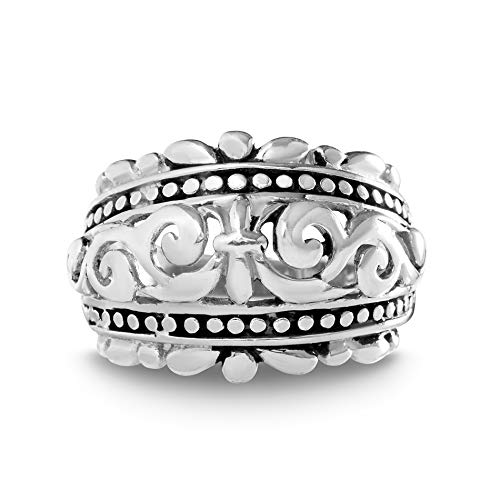 WILLOWBIRD Fleur De Lis Beaded Filigree Ring for Women in Oxidized 925 Sterling Silver (Size 9)