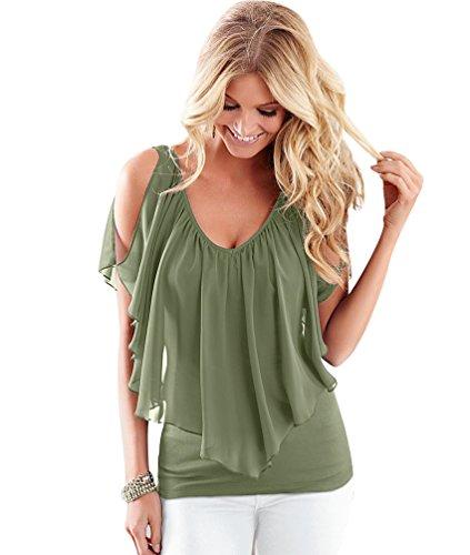 NiSeng Mujeres Verano Gasa Casual Color Sólido Cuello Redondo Off shoulder V Cuello Sin Mangas Camisetas Blusas Verde Ejército