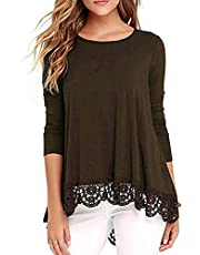 Aro Lora Women's Casual Crochet Hem Tunic Tops Long Sleeve T-Shirt Blouse