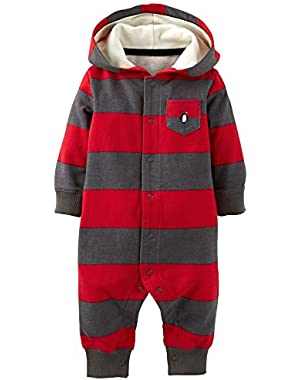 Carters Baby Boys Penguin Snap Up Hooded Jumpsuit 6 Month Red/grey