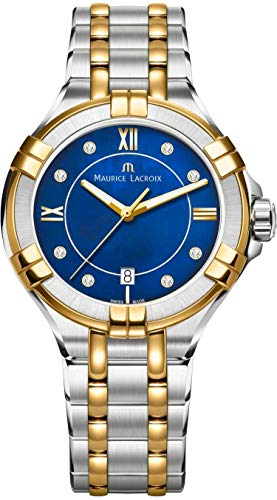 Maurice Lacroix Women's Aikon 35mm Mother of Pearl Watch | Royal Blue/Silver/Gold