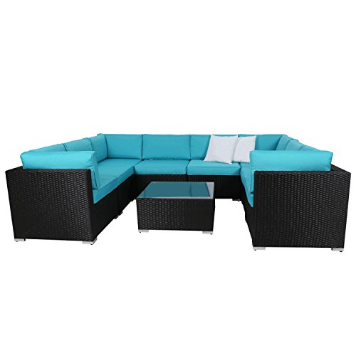 Press Set - Peach Tree 9 PCs Outdoor Patio PE Rattan Wicker Sofa Sectional Furniture Set with 2 Pillows and Tea Table