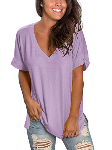 Juniors Short Sleeve Deep V Neck Shirt Summer Tops for Women Dressy Pink S