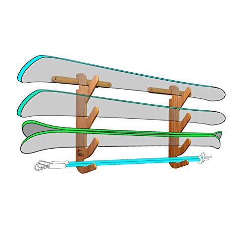 Bamboo Ski Display Rack for 2 or 3 Pairs of Skis – Grassracks Hallsteiner Trip