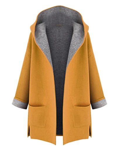 Sheng Xi Women Side Slit Pocket Long-Sleeved Hooded Plus-Size Overcoat Yellow 2XL (Slit Wool Coat Side)