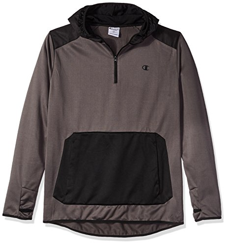 Champion Men's Big and Tall Poly PO Hood With Contrast Sleeve Zip Pouch, Stealth/Black, (Big Tall Activewear)
