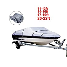 Dulcii Boat Cover, Heavy Duty 210D Waterproof Trailer Fishing Ski Covers, Four Sizes For Choose,Grey
