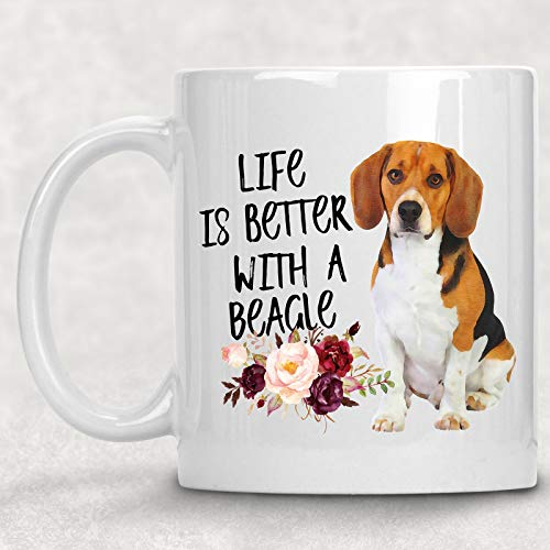 Life is Better with A Beagle Watercolor Mug Dog Lover Coffee Cup