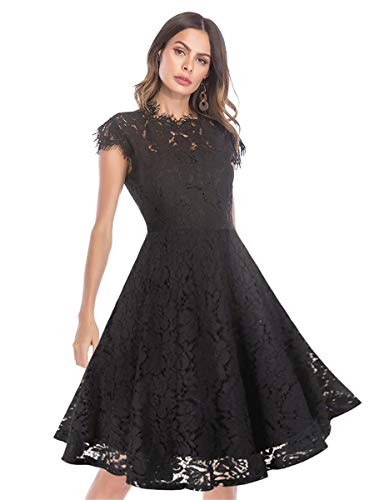(Women's Sleeveless Floral Lace Slim Evening Cocktail Mini Dress for Party DM261 (XL, Black Swing))
