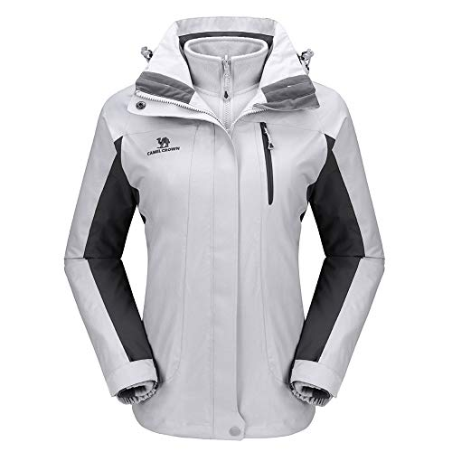 CAMEL CROWN Women's Ski Jacket Waterproof 3-in-1 Winter Coats Windproof Snow Jacket for Rain Hiking Outdoor Silver Gray