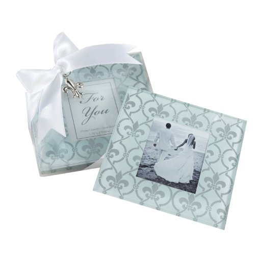 Kate Aspen 27039NA Photo Coasters, Fleur-de-Lis Glass
