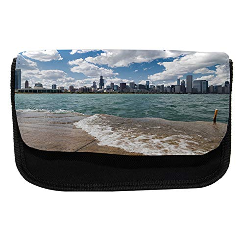 """Ambesonne Illinois Pencil Case, Chicago Skyline and Lake, Fabric Pen Pencil Bag with Double Zipper, 8.5"""" x 5.5"""", Multicolour -  cas_90598"""