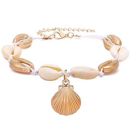 - Crazy Feng Ankle Sterling Silver 14K Gold Adjustable Beach Anklet Bracelet Multi-Layer Foot Jewelry Set for Women,Girls (Shell-Gold)