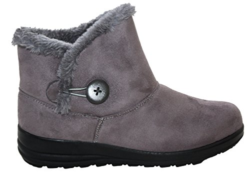 Womens Ladies Lightweight Fur Lined Girls Warm Casual Comfort Winter Ankle Boots UK Sizes 3-8 Grey 7G1QngRo