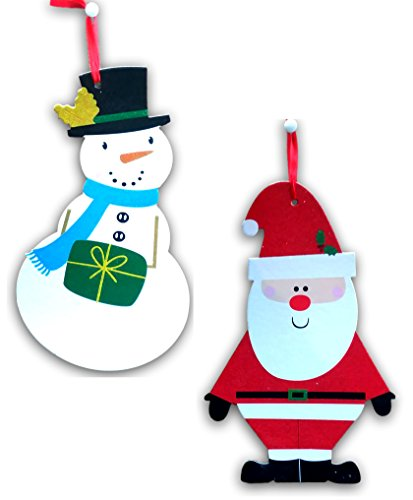 Sparkly Glittery Snowman and Santa Signs for Windows Wall Hanging Doors School Classroom or Home Decoration Bundle of 2 18.5 inch signs - 1 Snowmen 1 -
