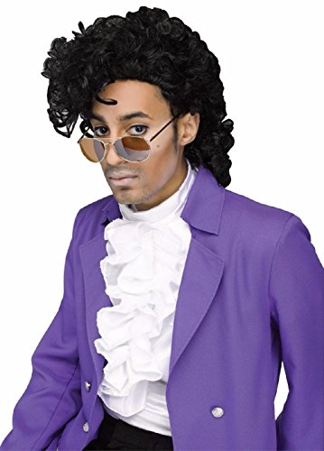 Fancy Dress Prince Costume Singer (Purple Rain Prince Rocking 80's Pop Singer Wig Adult Costume)