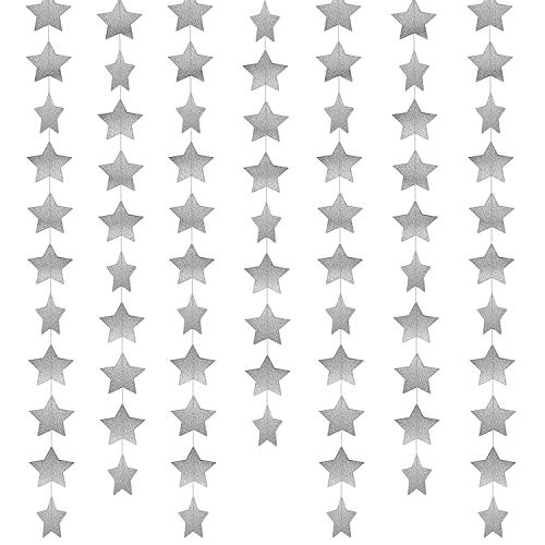 Whaline 52 Feet Star Paper Garland Bunting Banner Hanging Decoration for Wedding Thanksgiving Party Birthday, 2.75 Inches (Silver) ()