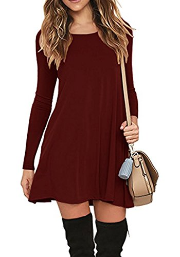 Sleeve Sleeveless T 1 Swing Loose wine Red Muhadrs Women's Shirt Long Casual Dress gxtqwTECF