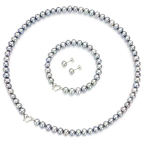 Heart Shape Sterling Silver 6-6.5mm Dyed-grey Freshwater Cultured Pearl Jewelry Set by La Regis Jewelry