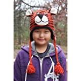 Kids Size Tiger 100% Wool Pilot Animal Ski Cap / Hat With Fleece Lined