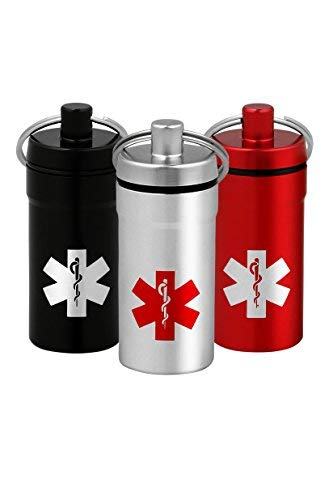 Ultra-Mini Stash Jar - Airtight Aluminum Smell-Proof Container with Medical Emblem Design for Men & Women - Screw Lid Lock Secures Medications, Herbs, Pills & More - Keychain Fob – 3 Pack