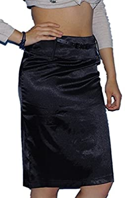 Beyond@ Womens Elastic Satin Pencil Skirt with Belt