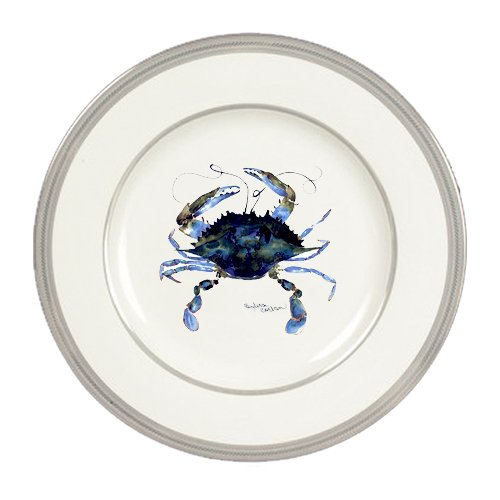 Female Blue Crab Ceramic Round Platinum Rim  Dinner Plate