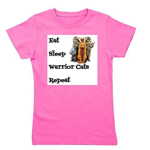 CafePress - Eat Sleep Warrior Cats Repeat T-Shirt - Girl's Cotton T-Shirt, Cute Slim Fit Girl's Shirt Raspberry
