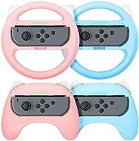 【最新NS Joy-Con専用クリップ&お得4点セット】ハンドル型+ゲームパッド型 マリオカート8 デラックス スイッチレーシングゲーム ハンドル(装着簡単、手触り良い、持ちやすい) Nintendo Switch スイッチ ジョイコン専用ハンドル