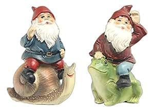 "Set of 2 Ganz 3.5"" Miniature Garden Gnomes Riding Snail & Frog"