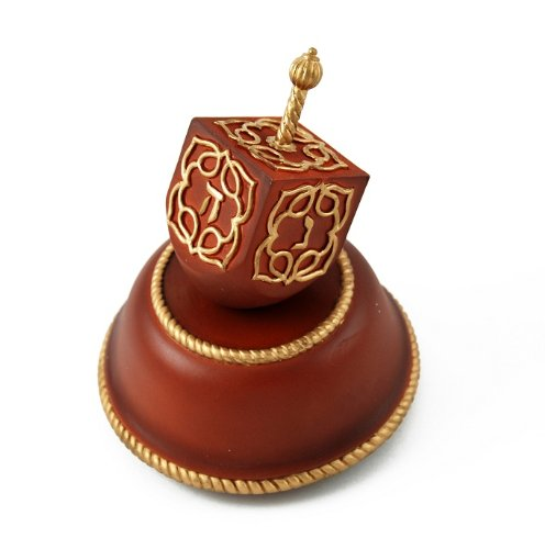 Festive Musical Dreidel with Wooden Base and Gold Accents - Beautiful in My Eyes - SWISS by MusicBoxAttic (Image #3)