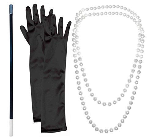 20s Flapper Gangster Pearl Necklace With Cigarette Holder And Black Gloves (1920s Gangster Fashion)