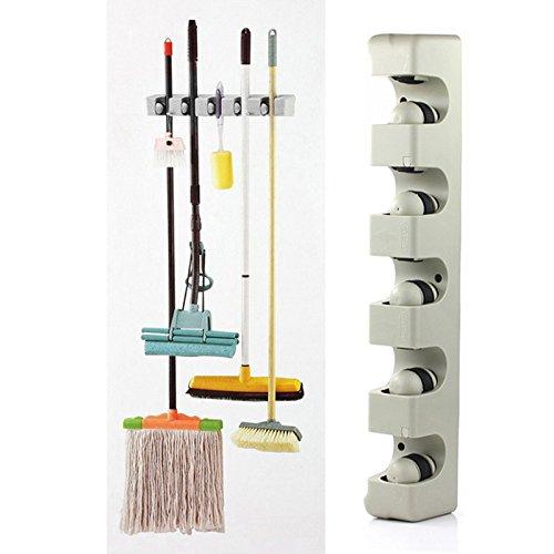 Deco Mop (Kitchen Organizer Wall Shelf Mounted Hanger 5 Position Kitchen Storage Mop Brush Broom Organizer Holder Tool)