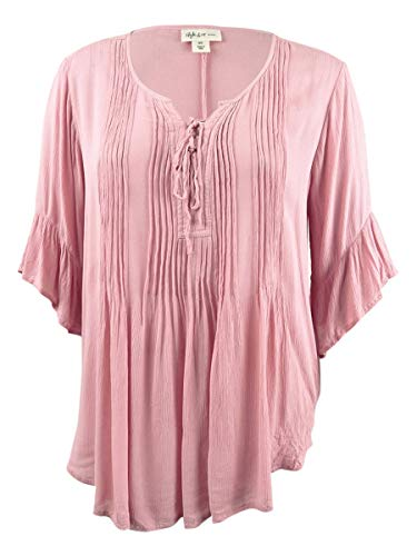 Style & Co. Womens Plus Boho Lace Up Peasant Top Pink 3X from Style and Co.