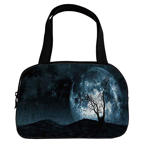 iPrint Increase Capacity Small Handbag Pink,Fantasy,Night Moon Sky with Tree Silhouette Gothic Halloween Colors Scary Artsy Background,Slate Blue,for Girls,3D Print Design.6.3