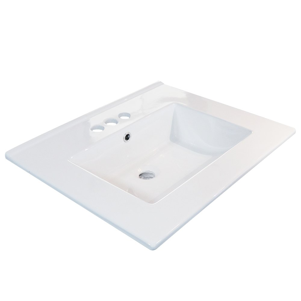 24'' Rectangle Under Counter White Bathroom Sink Ceramic Porcelain Vanity Top 3 Hole With Overflow (Ceramic sink only) by Eway
