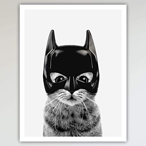 Halloween Posters For Kids (Bat Cat Super Hero Bedroom Decor, Fun and Cute Kids Bedroom Neutral Wall Decor, Children's Room & Nursery Prints, Art Print Poster Wall Decor 11x14 inches,)