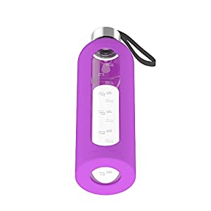 32 oz glass water bottle silicone sleeve leak proof lids time markings u0026 bpa free