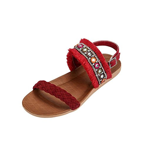 IGEMY Women Sandals, Women Bohemia Fringed Woven Belt Anti Skidding Beach Shoes Peep-Toe Sandals Red