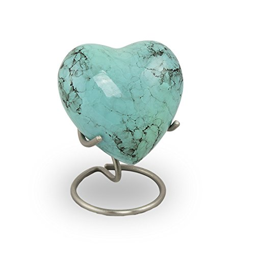 Bronze Keepsake - OneWorld Memorials Glenwood Marble Bronze Keepsake Urns - Extra Small - Holds Up To 3 Cubic Inches of Ashes - Turquoise Blue Cremation Urn for Ashes - Engraving Sold Separately