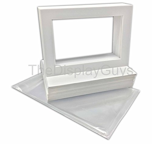 The Display Guys Pack of 25 11x14 inches White Picture Photo Matting Mats Boards (White Core Bevel Cut) + Black Back Boards + Clear Plastic Bags (25pcs white complete set) by The Display Guys