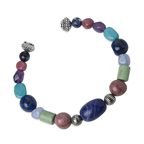 Carolyn Pollack - Sterling Silver Beaded Magnetic Bracelet - Size Average - Classic Collection (Beaded Bracelets Sterling Turquoise Silver)